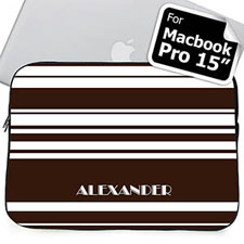 Custom Name Chocolate Stripes MacBook Pro 15 Sleeve