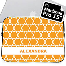 Custom Name Orange Hoopla MacBook Pro 15 Sleeve