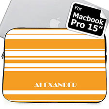 Custom Name Orange Stripes MacBook Pro 15 Sleeve