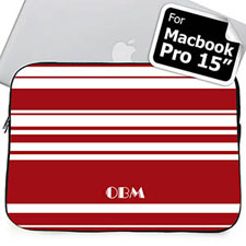 Custom Initials Red Stripes MacBook Pro 15 Sleeve