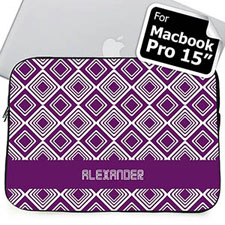 Custom Name Purple Diamonds MacBook Pro 15 Sleeve