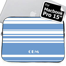 Custom Initials Sky Blue Stripes MacBook Pro 15 Sleeve