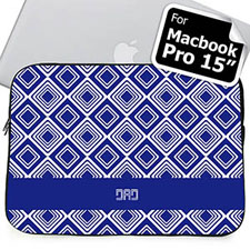 Custom Initials Blue Diamonds MacBook Pro 15 Sleeve