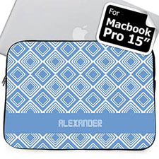 Custom Name Sky Blue Diamonds MacBook Pro 15 Sleeve
