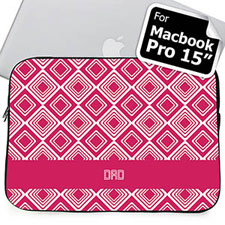 Custom Initials Hot Pink Diamonds MacBook Pro 15 Sleeve