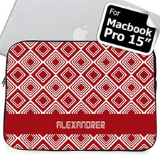 Custom Name Red Diamonds MacBook Pro 15 Sleeve