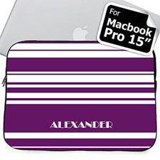 Custom Name Purple Stripes MacBook Pro 15 Sleeve