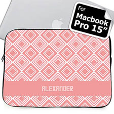 Custom Name Pink Diamonds MacBook Pro 15 Sleeve