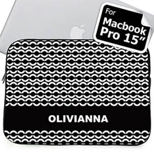 Custom Name Black Chain MacBook Pro 15 Sleeve