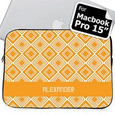 Custom Name Orange Diamonds MacBook Pro 15 Sleeve