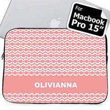 Custom Name Pink Chain MacBook Pro 15 Sleeve