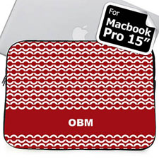 Custom Initials Red Chain MacBook Pro 15 Sleeve