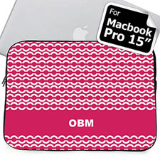 Custom Initials Hot Pink Chain MacBook Pro 15 Sleeve