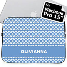 Custom Name Sky Blue Chain MacBook Pro 15 Sleeve