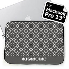 Custom Name Grey Quatrefoil Macbook Pro 13 Sleeve (2015)