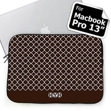 Custom Initials Chocolate Quatrefoil Macbook Pro 13 Sleeve (2015)