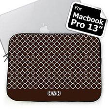 Custom Initials Chocolate Quatrefoil Macbook Pro 13 Sleeve (2015)