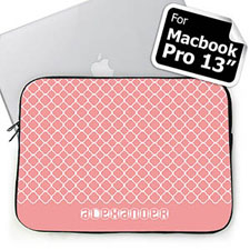 Custom Name Pink Quatrefoil Macbook Pro 13 Sleeve (2015)