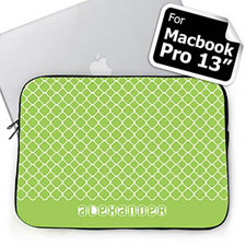Custom Name Lime Quatrefoil Macbook Pro 13 Sleeve (2015)