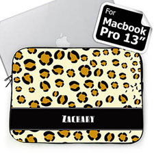Custom Name Leopard Pattern Macbook Pro 13 Sleeve (2015)
