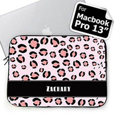 Custom Name Pink Leopard Pattern MacBook Pro 13 Sleeve