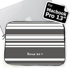 Personalized Name Grey Stripes Macbook Pro 13 Sleeve (2015)