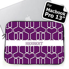 Custom Name Purple Trellis Macbook Pro 13 Sleeve (2015)