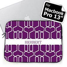 Custom Name Purple Trellis Macbook Pro 13 Sleeve (2015)