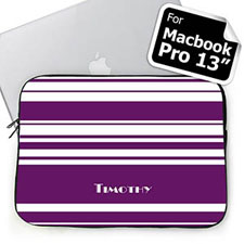 Personalized Name Purple Stripes Macbook Pro 13 Sleeve (2015)