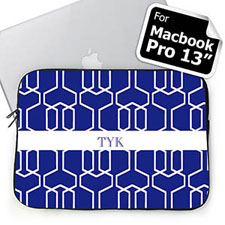Custom Initials Blue Trellis Macbook Pro 13 Sleeve (2015)
