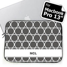 Custom Initials Grey Hoopla MacBook Pro 13 Sleeve
