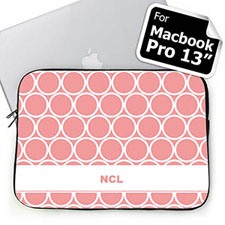 Custom Initials Pink Hoopla MacBook Pro 13 Sleeve