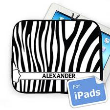 Custom Name Black & White Zebra Pattern Ipad Sleeve
