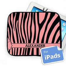 Custom Name Black & Pink Zebra Pattern Ipad Sleeve