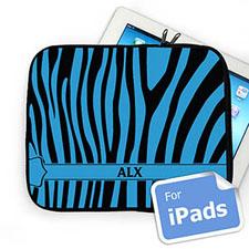 Custom Initials Black & Blue Zebra Pattern Ipad Sleeve