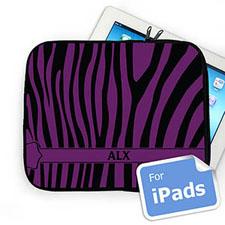 Custom Initials Black & Purple Zebra Pattern Ipad Sleeve