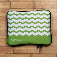 Personalized Initial Green Chevron Ipad Sleeve
