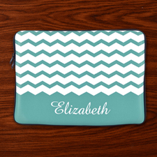 Custom Initials Mint Chevron Ipad Sleeve