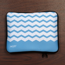 Personalized Name Sky Blue Chevron Ipad Sleeve