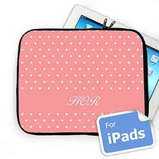 Custom Initials Pink Polka Dots Ipad Sleeve