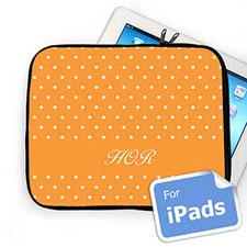 Custom Initials Orange Polka Dots Ipad Sleeve