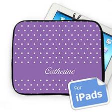 Custom Name Lavender Polka Dots Ipad Sleeve