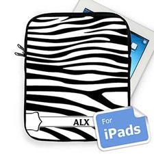 Custom Initials Black & White Zebra Pattern Ipad Sleeve