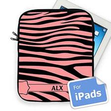 Custom Initials Black & Pink Zebra Pattern Ipad Sleeve