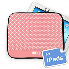 Custom Initials Pink Quatrefoil iPad Sleeve