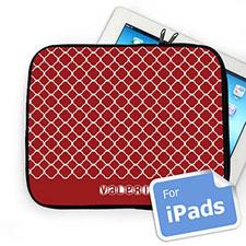 Custom Name Red Quatrefoil Ipad Sleeve
