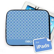 Custom Initials Blue Quatrefoil Ipad Sleeve