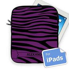 Custom Name Black & Purple Zebra Pattern Ipad Sleeve