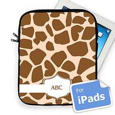 Custom Initials Brown Giraffe Pattern Ipad Sleeve