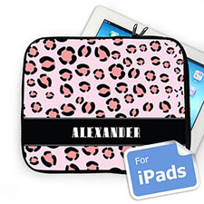 Custom Name Pink Leopard Pattern Ipad Sleeve